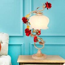 European Garden Iron Ceramic Flower Rose Glass Bedroom Bedside Desk Wedding Table Lamp Lights For Living Room Study Lighting