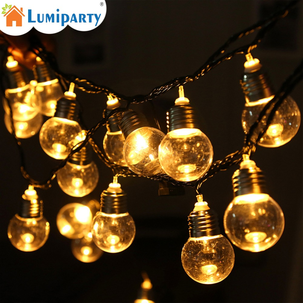 6M 20 Led Ball String Lights Clear Globe Bulbs Fairy Garland Lamp Garden Party Wedding Birthday Decoration Lights String 40 led grinding white ball christmastree string lights decorated colored lamp
