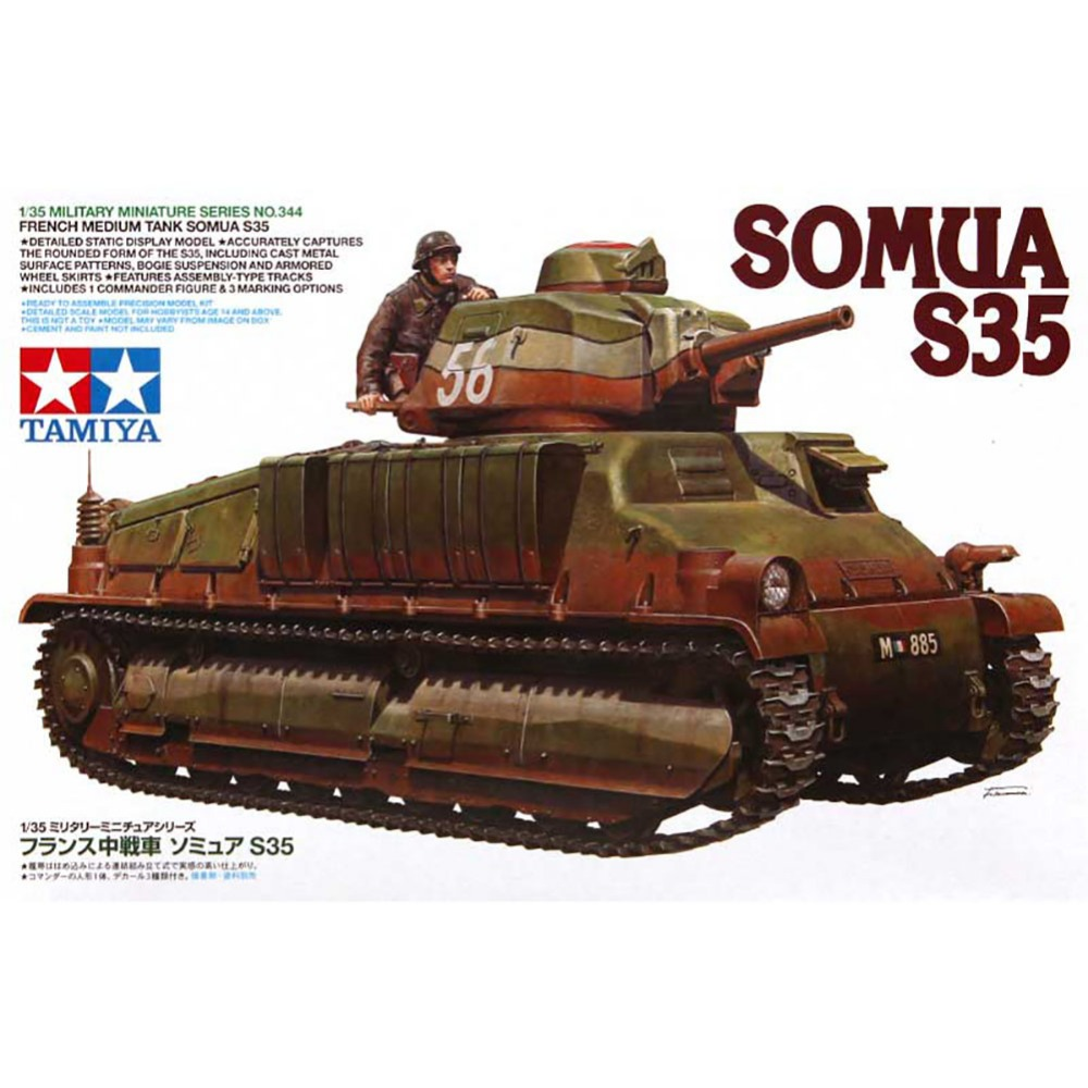 OHS Tamiya 35344 1/35 French Medium Tank Somua S35 Military Assembly AFV Model Building Kits tobyfancy tamiya 1 35 ww2 german steyr type 1500a 01 military miniature ready to assembly model kit