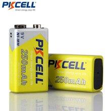 2 قطعة * PKCELL 9 فولت بطارية ni mh 250mAh NIMH 6F22 9 فولت بطاريات قابلة للشحن Baterias ل ترمومتر إلكتروني الميكروفونات اللاسلكية