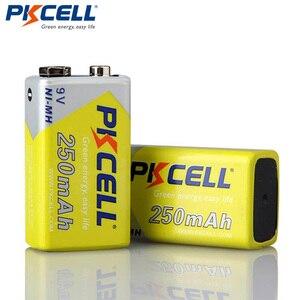 Image 1 - 2 قطعة * PKCELL 9 فولت بطارية ni mh 250mAh NIMH 6F22 9 فولت بطاريات قابلة للشحن Baterias ل ترمومتر إلكتروني الميكروفونات اللاسلكية
