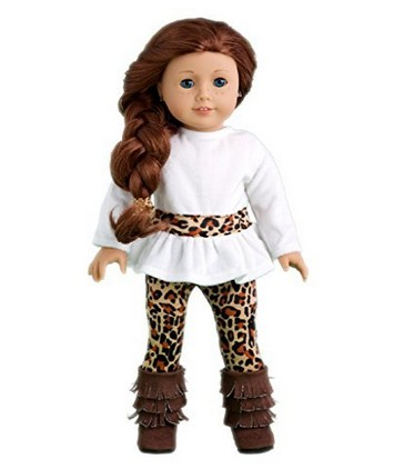 Fashion Safari - 2 piece outfit - Ivory velvet tunic and cheetah leggings - 18 Inch Doll Clothes (shoes not included) the cheetah girls the cheetah girls 2 special edition soundtrack cd dvd