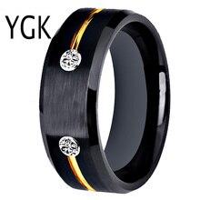 Anel de tungstênio, anel de casamento, noivado para mulheres, clássico, masculino, preto, de tungstênio, dourado, para presente de aniversário
