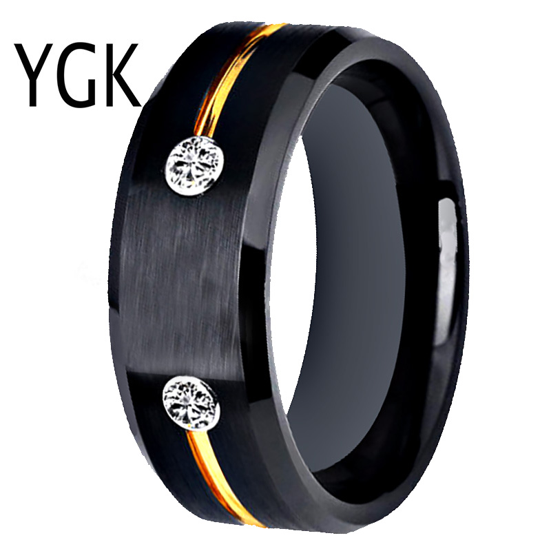 Tungsten Wedding Band Engagement Rings For Women Classic Men's Black Tungsten Ring Golden Groove CZ inlay Anniversary Gift Ring