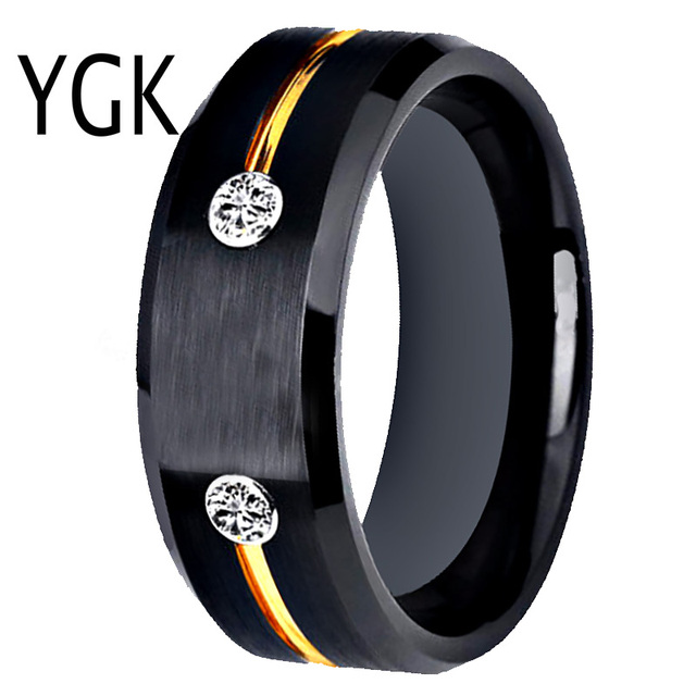 Tungsten Wedding Band Engagement Rings For Women Classic Mens Black Tungsten Ring Golden Groove CZ inlay Anniversary Gift Ring