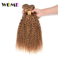 Wome Honey Blonde Color Indian Kinky Curly Hair 3 Bundles #27 Human Hair Weaving Curl Hair Extensions Double Weft