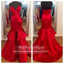 Elegant Long Red Evening Dress V-neck Real Photos Mermaid Evening Gowns Women Formal Dresses