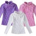 Roupa dos miúdos meninas roupas de Outono 2016 crianças meninas blusa beading rendas de algodão criança menina da escola camisa blusa blusas 3 cores
