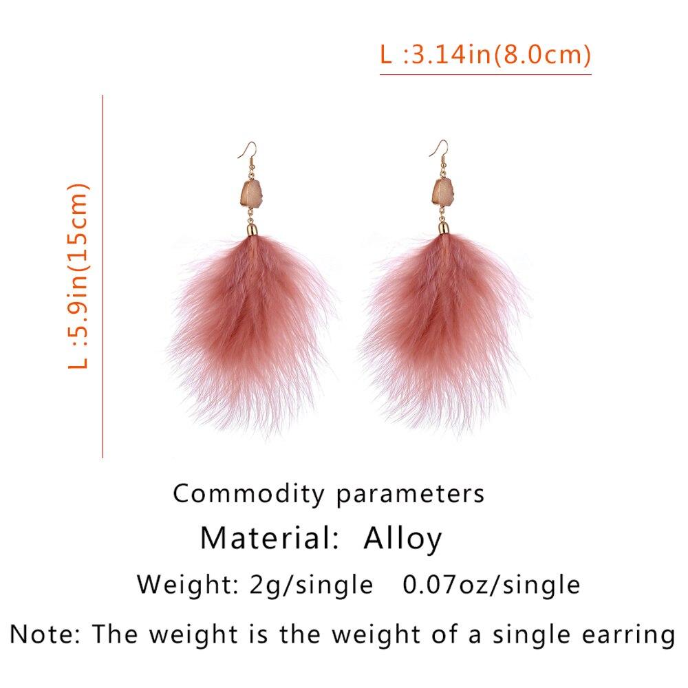 Lost Lady 2019 New Fashion Bohemian Feather Earrings Long Crystal Tassel Dangle Drop Earrings Jewelry For Women Wedding Jewelry in Drop Earrings from Jewelry Accessories