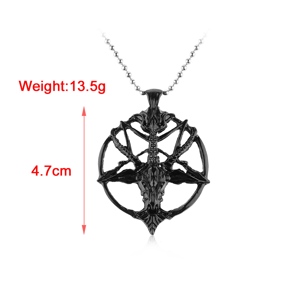 Satanic Goat Necklace Pentagram Skull with Chain 4