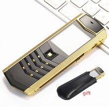 "Russian Keyboard Button Luxury Metal+Leather Housing Original China 1.8"" Screen GSM Dual Sim dual standby Bluetooth Mobile Phone"