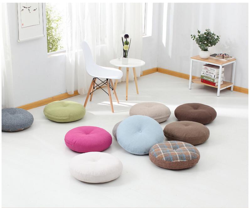 Coussins de sol rond pour méditation, différents coloris