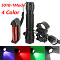 501B Tactical Flashlight CREE T6 White/Green/Red/Purple+battery+Charger+Pressure Switch Mount Hunting Rifle Gun Torch Light Lamp
