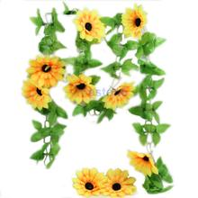 3pcs/lot Artificial Sunflower Garland Flower Vine for DIY Home Wedding Floral Decor NEW Free shipping