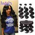 Iwish Official Store Malaysian Ear To Ear Lace Frontal Closure With Bundles Body Wave Virgin Hair with Closure Human Hair Wavy