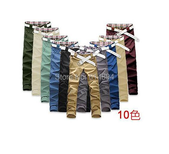 Verano estilo 2015 recién llegado de primavera ropa hombre edición de han de largo pantalones de corte Slim pantalones casuales de moda 10 color