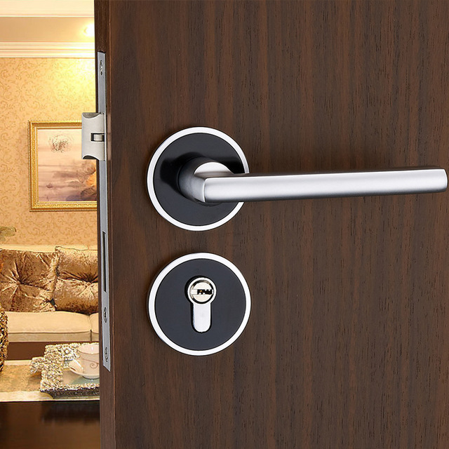 Entrance Lever door handle [Lock with Two keys] for office or front ...
