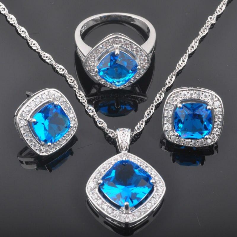 GemäßIgt Fahoyo Platz Sky Blue Zirkonia Frauen 925 Silber Schmuck Sets Ohrringe/anhänger/halskette/ringe Freies Verschiffen Qz0127 Hochzeits- & Verlobungs-schmuck Schmuck & Zubehör