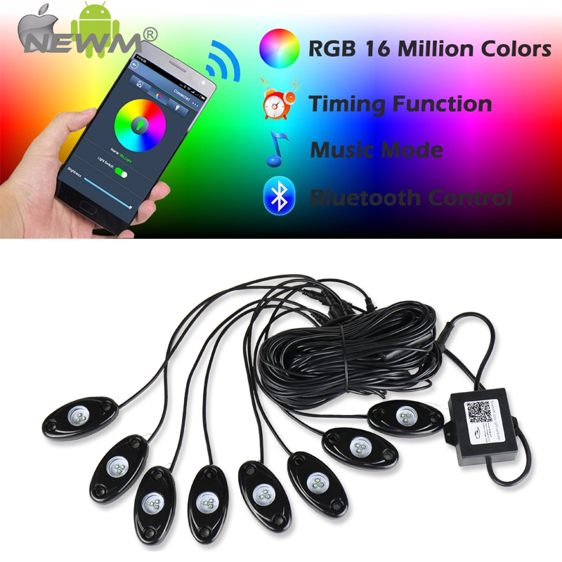8Pcs LED RGB 9W Off road Rock Lights Wireless Bluetooth Music Accent Car For Jeep Truck