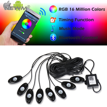 8Pcs LED RGB 9W Off-road Rock Lights Wireless Bluetooth Music Accent Car For Jeep Truck
