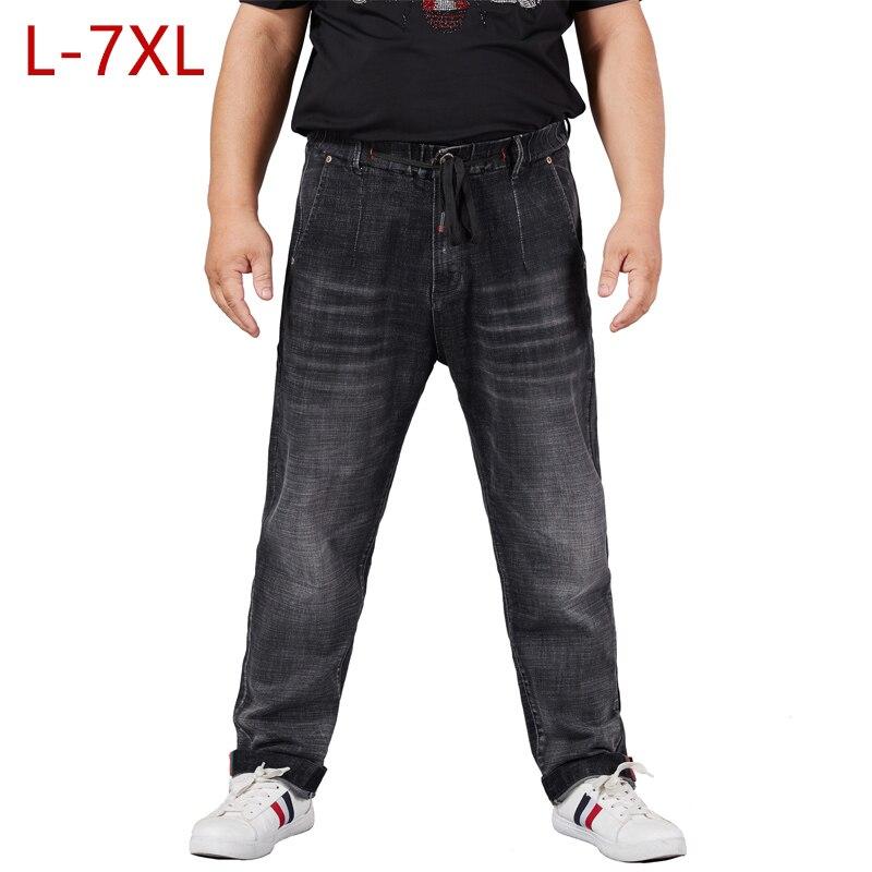 L-7XL décontracté taille élastique Jeans haute Stretch classique homme Denim pantalon mode Skinny noir Biker Jeans hommes grande taille