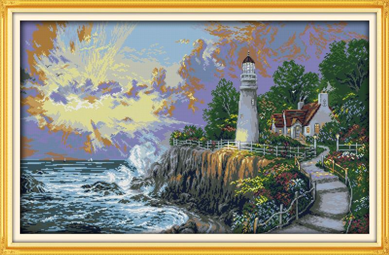 The Beacon Light Tower Cross Stitch DMC Counted Cross Stitch DIY Needlework Kits Embroidery for Needlework Crafts Home Decor