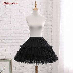 Image 3 - שחור או לבן 2 חישוקי קצר תחתוניות לחתונה לוליטה אישה ילדה תחתוניות קרינולינה פלאפי Pettycoat חישוק חצאית