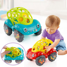Baby Car Doll Toys Car Crib Mobile Bell Rings Grip Gutta Percha Hand Jingle Shaking Bell Car Teether Toys Gift for Babies Infant