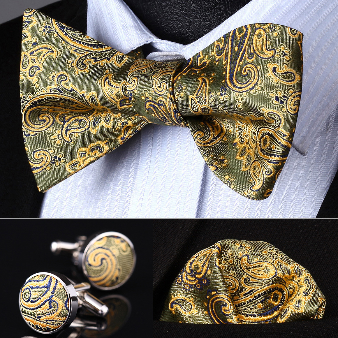 BZP14T Olive Gold Paisley Men Silk Self Bow Tie handkerchief Cufflinks set