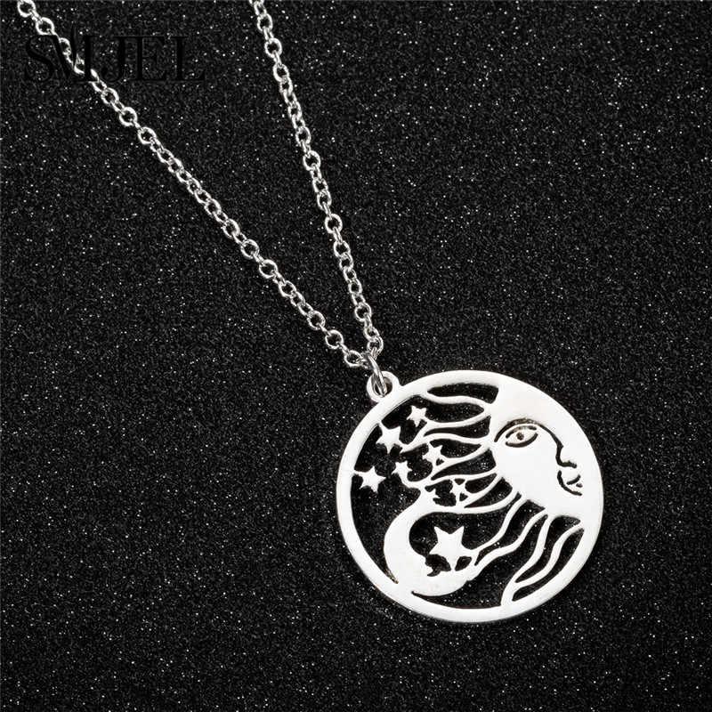 SMJEL Vintage soleil lune étoile collier femmes mayas civilisation bijoux argent cercle pendentifs colliers ras du cou collane
