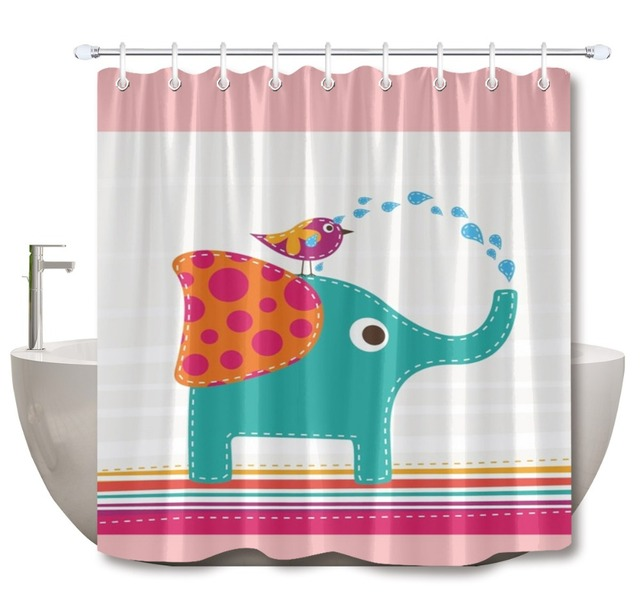 LB 72 Funny Cute Elephant Bird Stripes Pink White Blue Bathroom Shower Curtain Nature