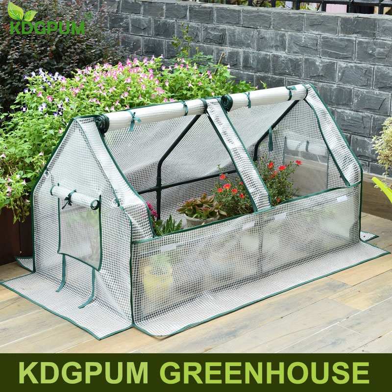 Removable Steel Frame Outdoor Garden Greenhouse Zipper Plants Cover PVC PE Plastic Green House Household Plant