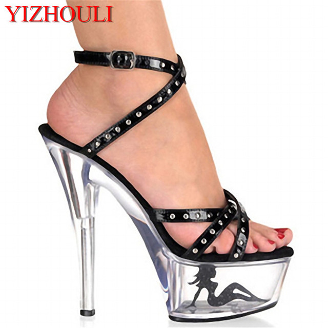 15cm high-heeled shoes rivets platform crystal open toe sandals 6 inch Around the wrist strap crystal Sandals