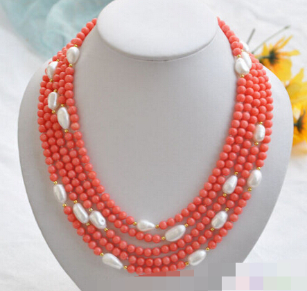 FREE SHIPPING>@@> <font><b>3082</b></font> natural 5row pink coral bead white baroque pearl NECKLACE image