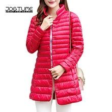 JOGTUME Women Down Coat 2017 Autumn Winter Stand Light White Duck Jackets Female Thin Slim Parka Plus Size 3xl 4xl