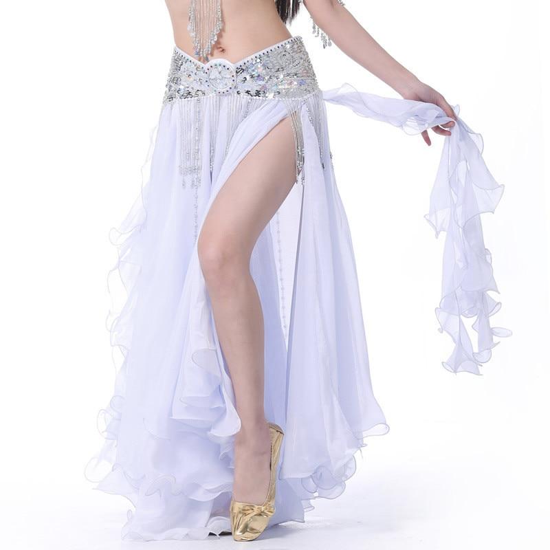 Women Belly Dance Costume Chiffon Roll Leaf Double Split Dress Adult Belly Dancing Clothing Performance Skirt Lady Dance Wear