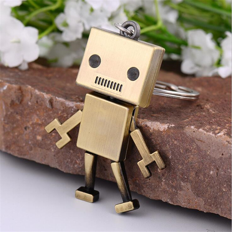 Men Children Accessory Cute Alloy Robot Keychain Creative Jewelry Keyrings Car Key Chains kids Adults Chaveiro Birthday Present image