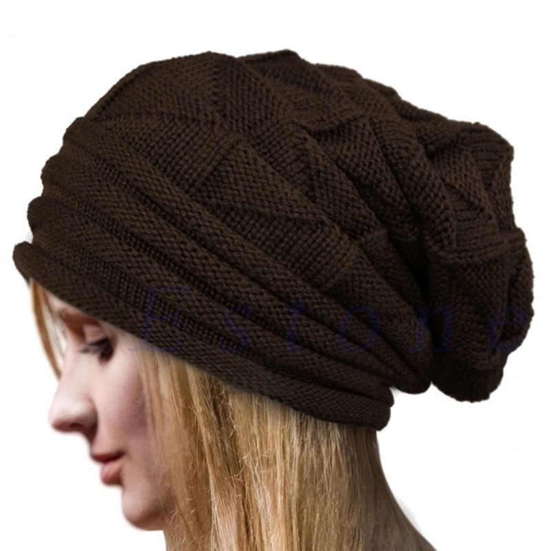 b3ad4650eb1 ... Unisex Charming Women Men Warm Winter Baggy Beanie Knit Crochet  Oversized Hat Slouch Cap ...