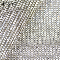 JUNAO Ss8 White Clear Color Crystal Hotfix Rhinestones Chain Trim Flatback Crystals Mesh In Roll Bridal