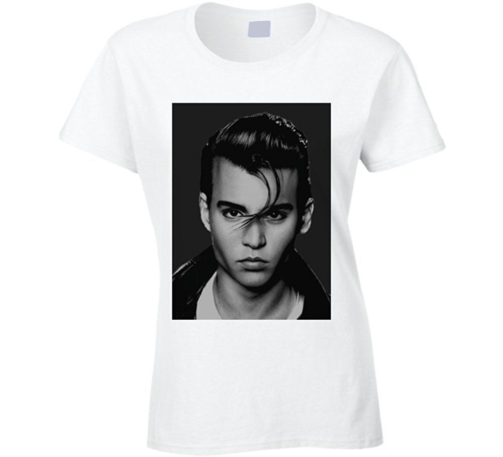 Mens Johnny Depp Face Shot Faded Look White T Shirt Casual Cotton O Neck t shirt Print Broadcloth in T Shirts from Men 39 s Clothing