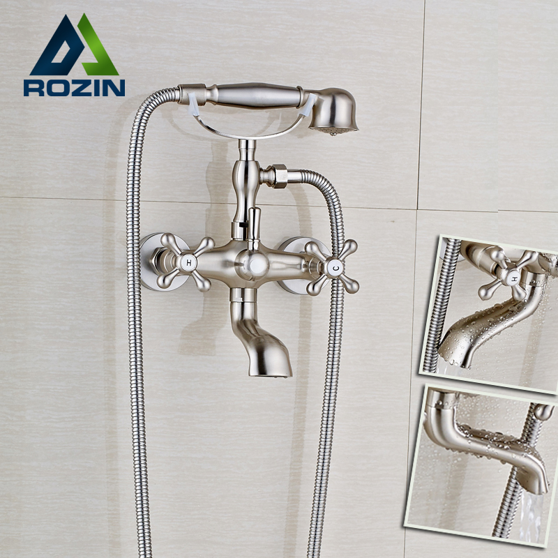 Wall Mount Bathtub Bathroom Faucet Brushed Nickel Telephone Style Mixer Faucet Tap with Dual Handle HandshowerWall Mount Bathtub Bathroom Faucet Brushed Nickel Telephone Style Mixer Faucet Tap with Dual Handle Handshower