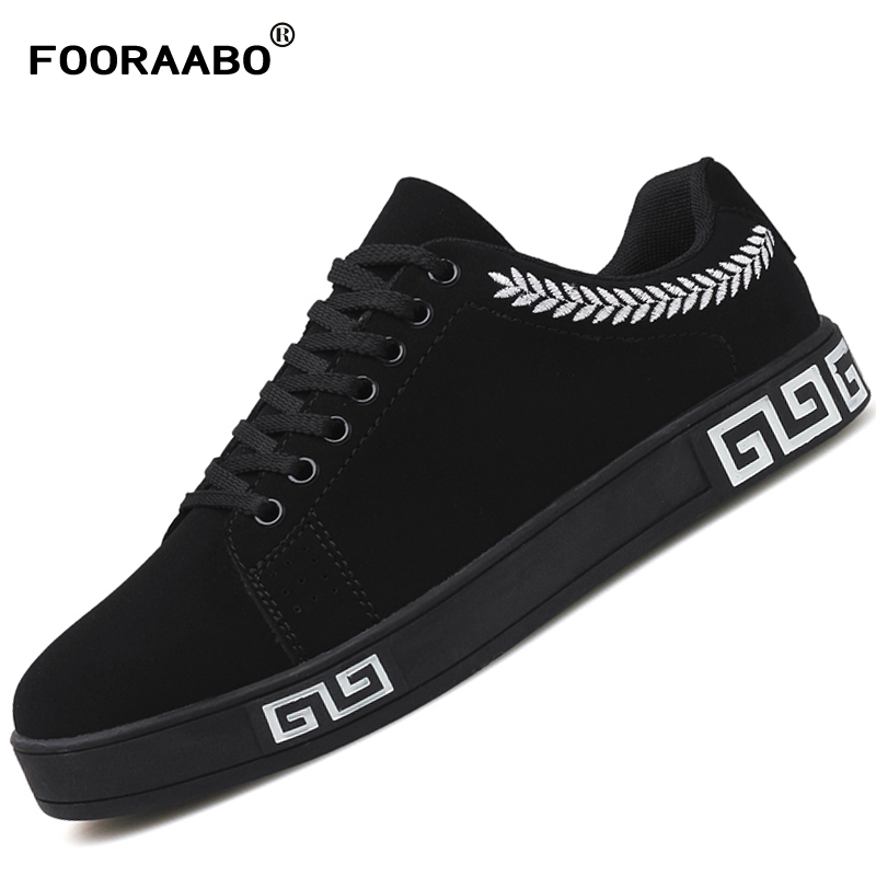 FOORAABO Men Shoes Casual 2017 Fashion Comfortable Autumn Mens Sneaker Walking Shoes Cheap Platform Leather Sapato Masculino fooraabo 2017 new print luxury mens casual shoes flat autumn winter hip hop high top men sneaker pu leather shoes big size 38 45