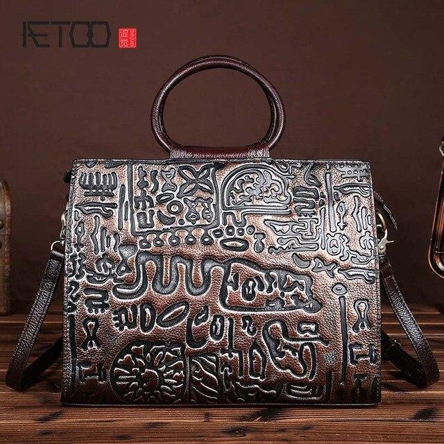 7a00f19c08d85 AETOO marke Die neue handgemachte leder handtasche geprägt vintage wischen  zurück zu tun die alten erste