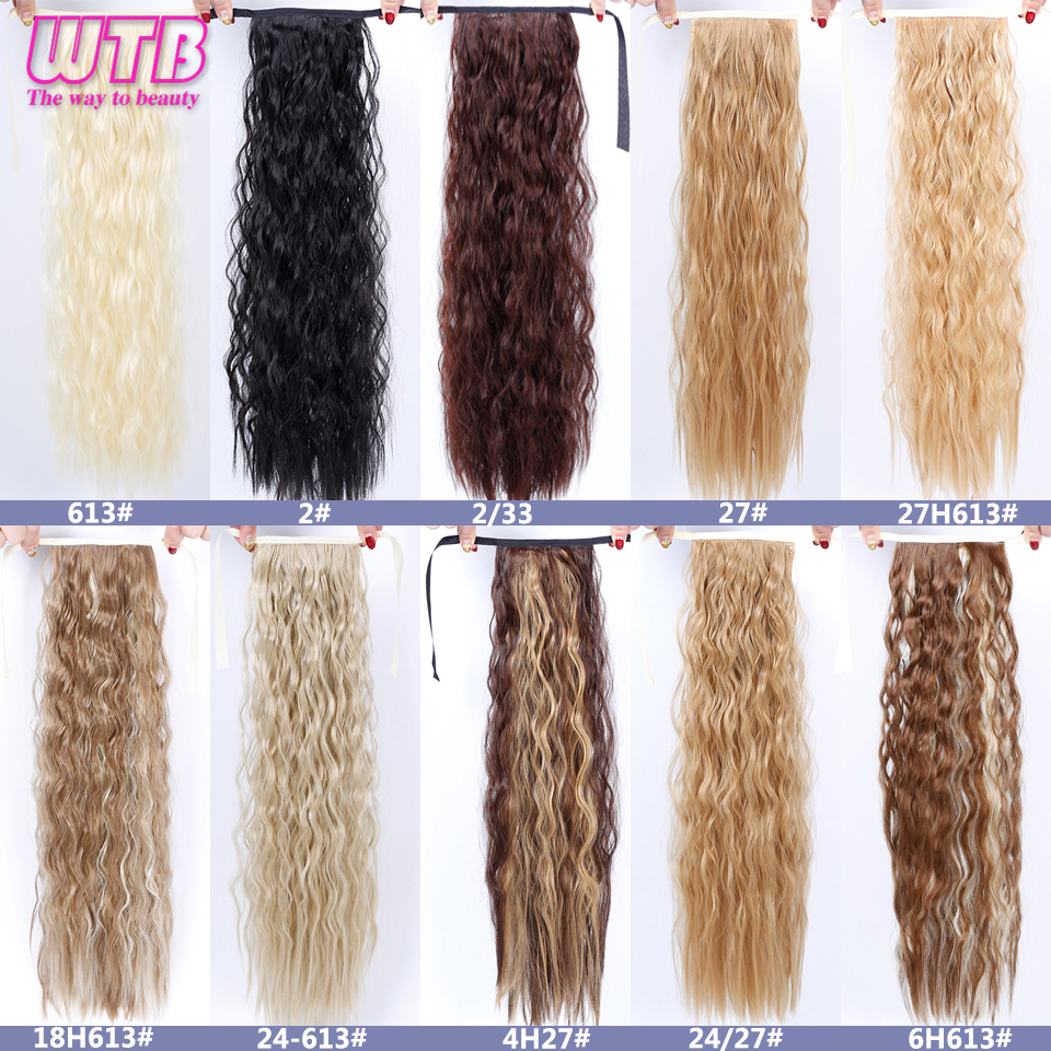 Wtb Long Wavy Curly Hair Ponytail For Women Heat Resistant Synthetic Kinky Curly Fake Hair Pieces 22 Inch Hair Extensions & Wigs