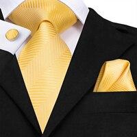 C-3129 Hi-Tie Luxury Silk Men Tie Gold Floral Dark Green Necktie Handkerchief Cufflinks Set Fashion Men's Party Wedding Tie Set