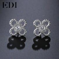 EDI 2017 Woman Trendy 14K White 0.2CT Round Cut Flower Stud Earrings For Women Crystal Engagement Wedding Earring Fine Jewelry
