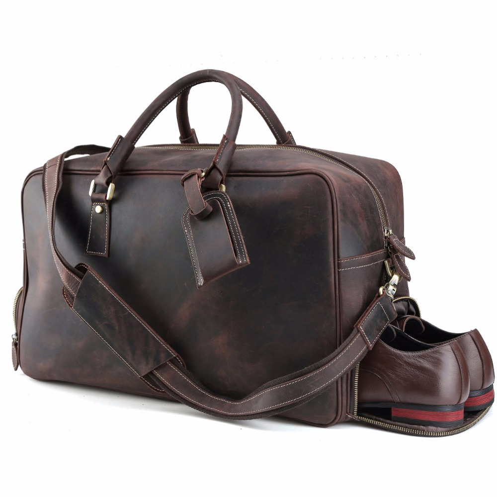 d283b2354f Tiding Cowhide Travel Bag Weekender Carry On Luggage with Shoe Pouch  Overnight Duffel Bag 1175