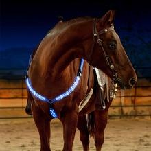 Открытый нагрудник для лошади, двойной светодиодный нейлоновый ремень для лошади, ночное видимое оборудование для верховой езды, пояс для верховой езды