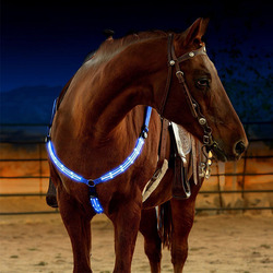 Outdoor Horse Breastplate Dual LED Horse Harness Nylon Night Visible Horse Riding Equipment Racing Equitation Equestrian Belt