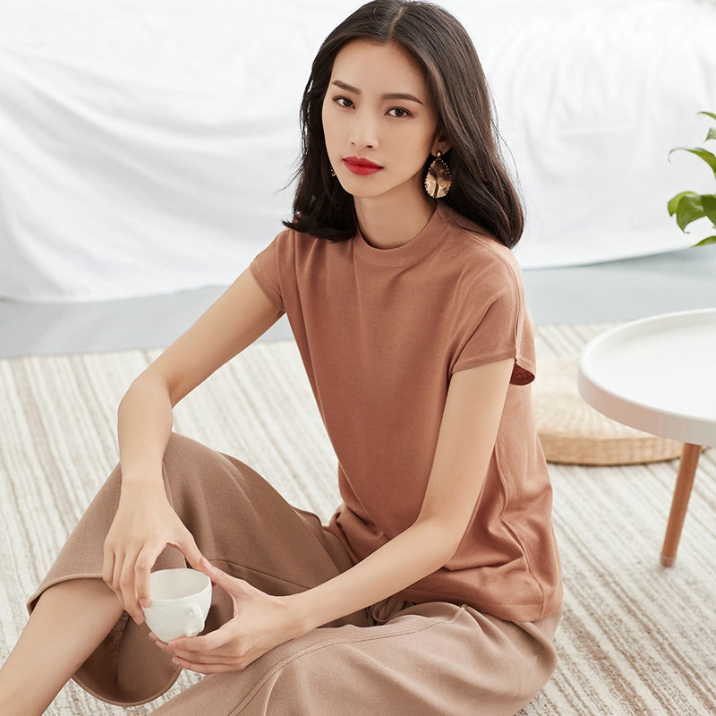 Women Thin Fiber Knit Linen <font><b>T</b></font>-<font><b>shirt</b></font> Short Sleeve Knitted Pullover Base Tee <font><b>HongKong</b></font> Asian Style Summer Linen Cool <font><b>T</b></font>-<font><b>shirt</b></font> image